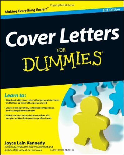 Cover Letters for Dummies  3rd 2009 edition cover