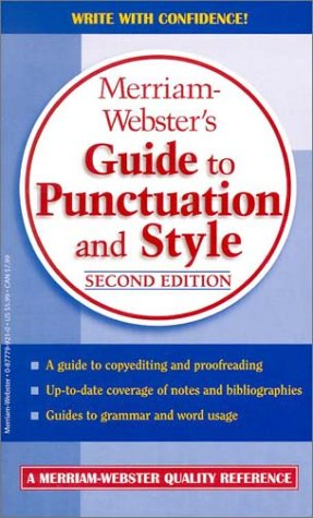 Merriam-Webster's Guide to Punctuation and Style  2nd 2001 (Revised) edition cover