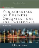 Fundamentals of Business Organizations for Paralegals  5th 2015 edition cover