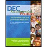 DEC Recommended Practices : A Comprehensive Guide for Practical Application in Early Intervention/Early Childhood Special Education 1st 2005 edition cover