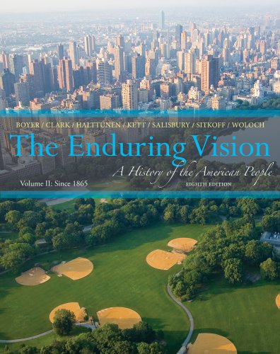 Enduring Vision since 1865 A History of the American Life 8th 2014 edition cover