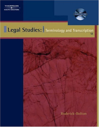 Legal Studies Terminology and Transcription 5th 2004 (Revised) 9780538437226 Front Cover