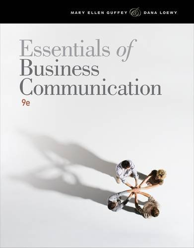 Essentials of Business Communication  9th 2013 9781111821227 Front Cover