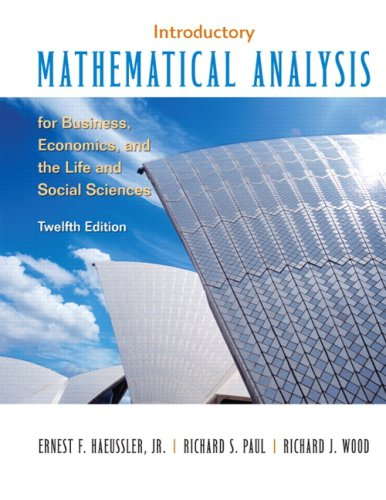 Introductory Mathematical Analysis for Business, Economics and the Life and Social Sciences  12th 2008 edition cover
