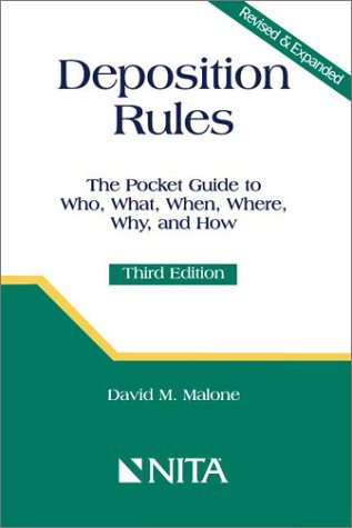 Deposition Rules : A Pocket Guide 3rd 2001 9781556817229 Front Cover