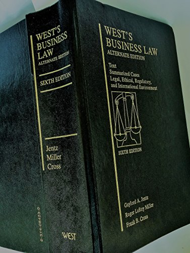 West's Business Law  6th 1996 (Alternate) 9780314064233 Front Cover