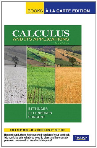 Calculus and Its Applications, Books a la Carte Edition  10th 2012 edition cover