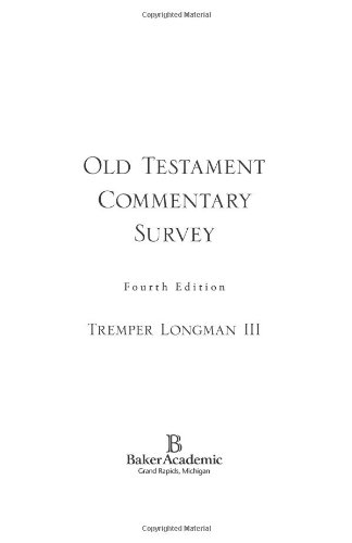 Old Testament Commentary Survey  4th 2007 edition cover