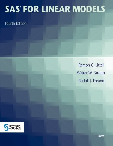 SAS for Linear Models, Fourth Edition  4th 2002 edition cover