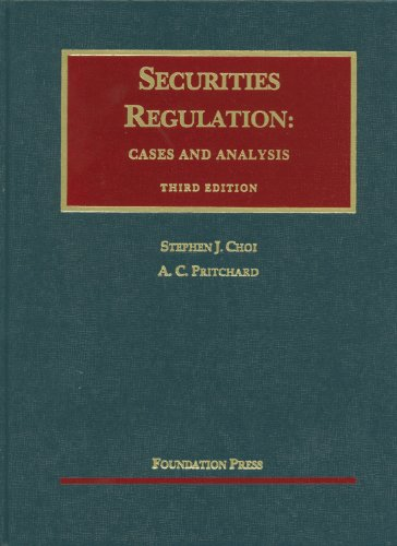 Securities Regulation Cases and Analysis, 3D 3rd 2012 (Revised) edition cover