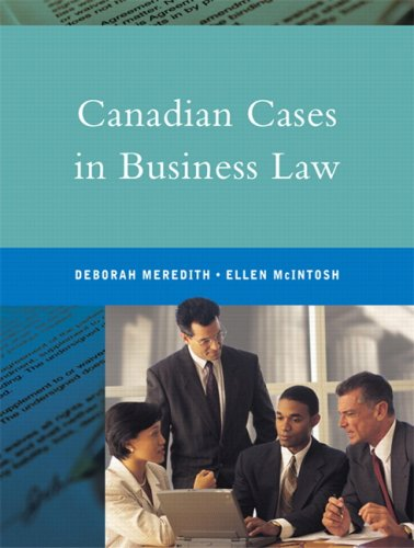 CANADIAN CASES IN BUSINESS LAW 1st 9780130931238 Front Cover