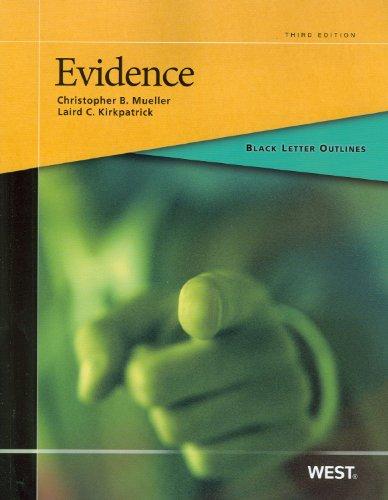 Black Letter Outline on Evidence  3rd 2012 (Revised) 9780314267238 Front Cover
