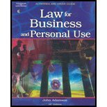 Law for Business and Personal Use  16th 2004 (Guide (Pupil's)) 9780538436243 Front Cover