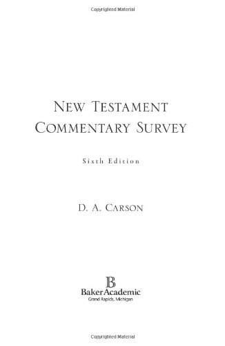 New Testament Commentary Survey  6th 2007 edition cover