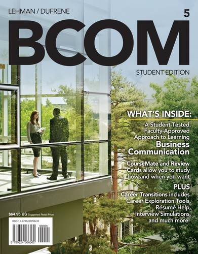 Bcom (With Business Communication Coursemate With Ebook Printed Access Card): 5th 2013 edition cover