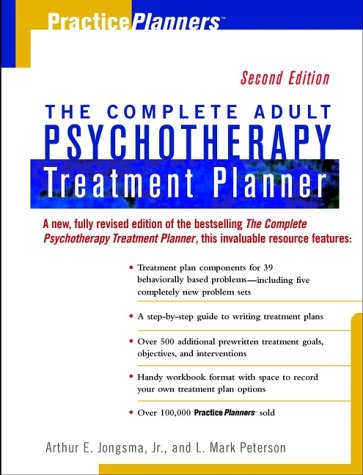 Complete Adult Psychotherapy Treatment Planner  2nd 1999 edition cover