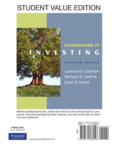 Fundamentals of Investing  11th 2011 edition cover