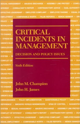 Critical Incidents in Management 6th edition cover