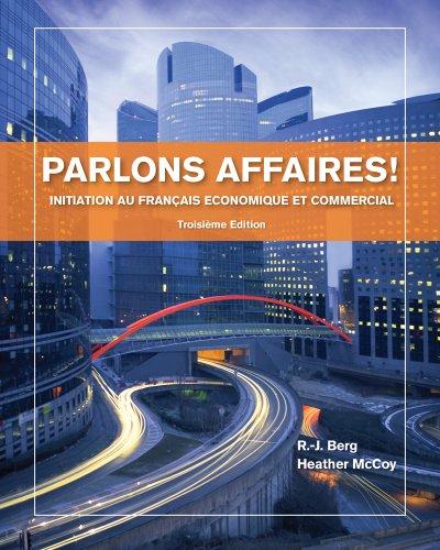 Parlons Affaires! Initiation Au Fran�ais Economique et Commercial 3rd 2014 edition cover