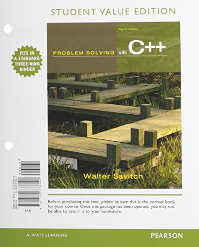 Problem Solving with C++  8th 2012 9780132804257 Front Cover