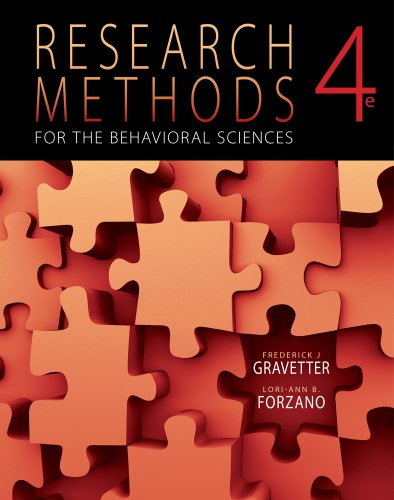 Research Methods for the Behavioral Sciences  4th 2012 9781111342258 Front Cover