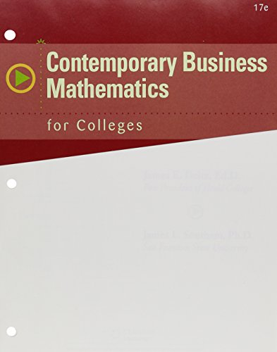 Contemporary Business Mathematics for Colleges + Cengagenow, 1-term Access:   2015 9781305617261 Front Cover