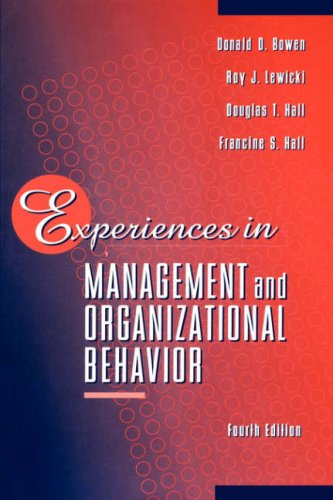 Experiences in Management and Organizational Behavior  4th 1997 (Revised) edition cover