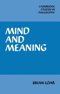 Mind and Meaning  N/A 9780521338264 Front Cover