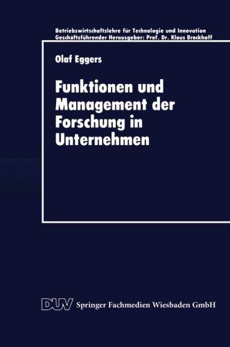 Funktionen und Management der Forschung in Unternehmen   1997 9783824403264 Front Cover