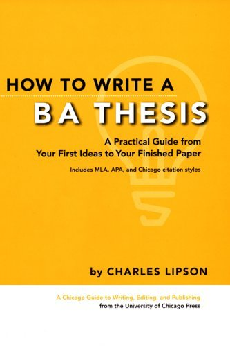 How to Write a BA Thesis A Practical Guide from Your First Ideas to Your Finished Paper  2005 edition cover