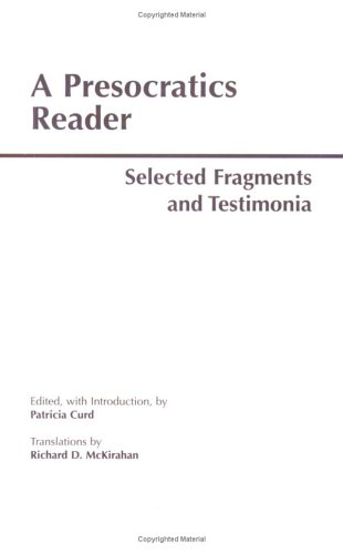 Presocratics Reader Selected Fragments and Testimonia  1996 edition cover