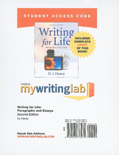 Writing for Life  2nd 2011 9780205778270 Front Cover