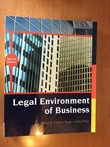 LEGAL ENVIRONMENT OF BUSINESS >CUSTOM<  N/A 9781305770270 Front Cover