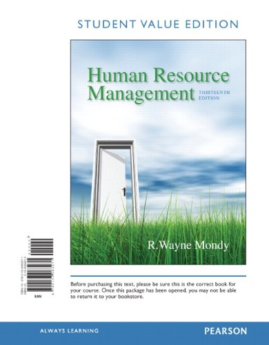 Human Resource Management, Student Value Edition  13th 2014 edition cover