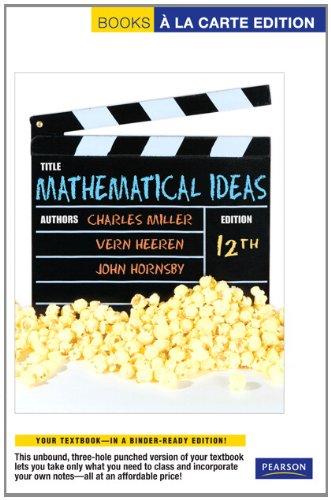 Mathematical Ideas, Books a la Carte Edition  12th 2012 edition cover