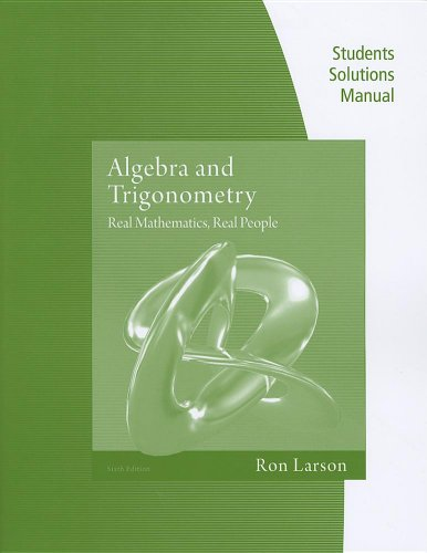 Algebra and Trigonometry Real Mathematics, Real People 6th 2012 (Alternate) edition cover