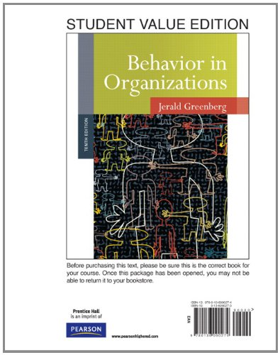 Behavior in Organizations, Student Value Edition  10th 2011 edition cover