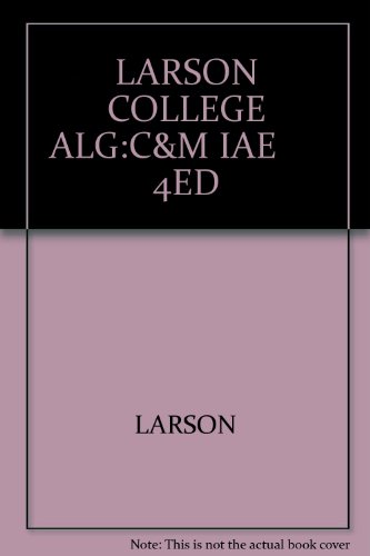 College Algebra Concepts and Models 4th 2003 9780618220274 Front Cover
