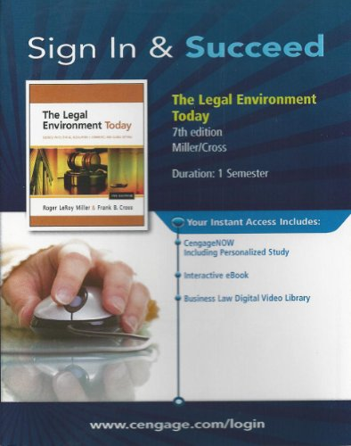 LEGAL ENVIRONMENT TODAY-ACCESS          N/A 9781133313274 Front Cover