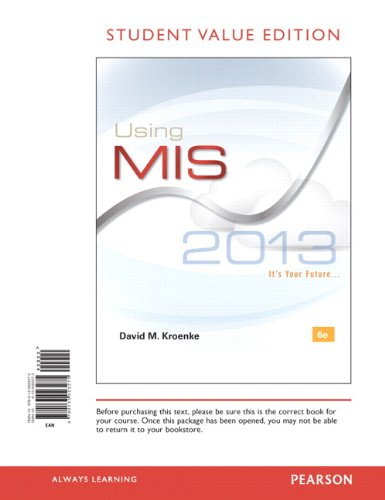 Using MIS, Student Value Edition  6th 2014 edition cover