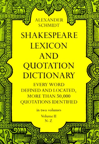 Shakespeare Lexicon and Quotation Dictionary  3rd 1971 edition cover