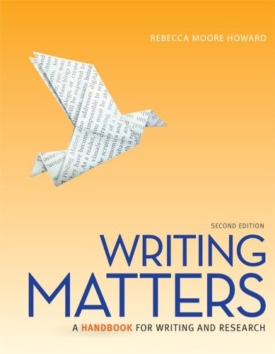 Writing Matters A Handbook for Writing and Research 2nd 2014 9780077840280 Front Cover
