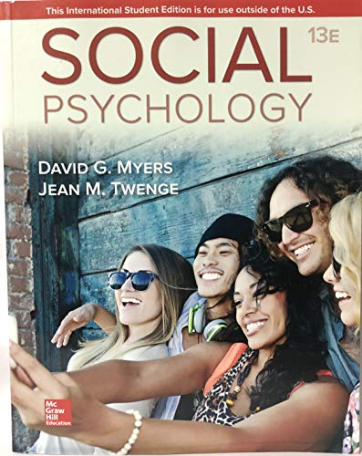 SOCIAL PSYCHOLOGY ED 13Eical Guide  13th 2019 9781260085280 Front Cover