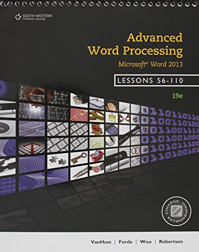 ADVANCED WORD PROC.,LESS.56-110-W/CODE  N/A 9781285576282 Front Cover