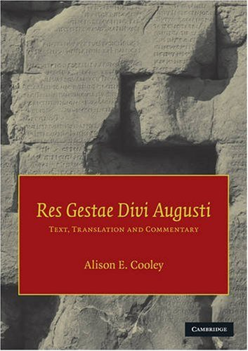 Res Gestae Divi Augusti Text, Translation, and Commentary  2009 edition cover