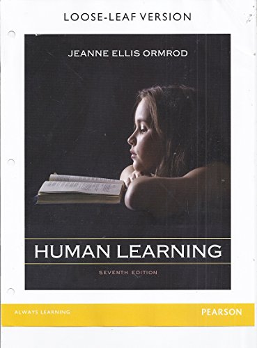 HUMAN LEARNING-TEXT (LOOSELEAF)         N/A 9780133579284 Front Cover