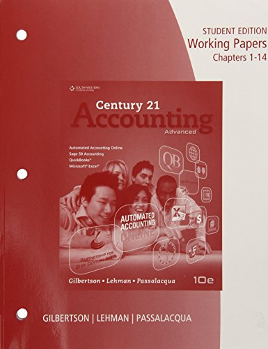 Accounting - Advanced, Chapters 1-24 Working Papers 10th 2015 9781285073286 Front Cover