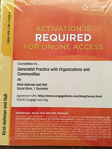 GENERALIST PRAC.W/ORG.+COMMUN.-ACCESS   N/A 9781285734286 Front Cover