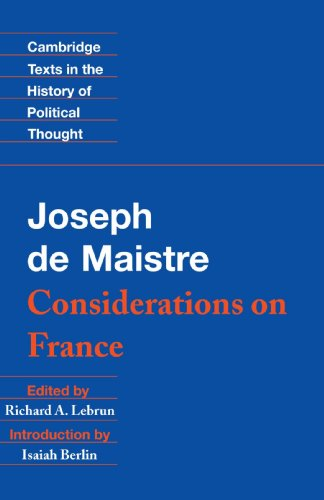 Maistre Considerations on France  1994 edition cover