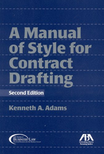 Manual of Style for Contract Drafting  2nd 2008 edition cover
